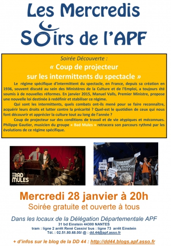 Affiche - Les Mercredis Soirs de l'APF-Coup de projecteur sur les intermittents du spectacle.jpg